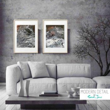 Framed Modern Painting Marble Effect Neutral by Artist Sarah Jane called Nature VII and Nature VIII - MODERN DETAIL BY SARAH JANE