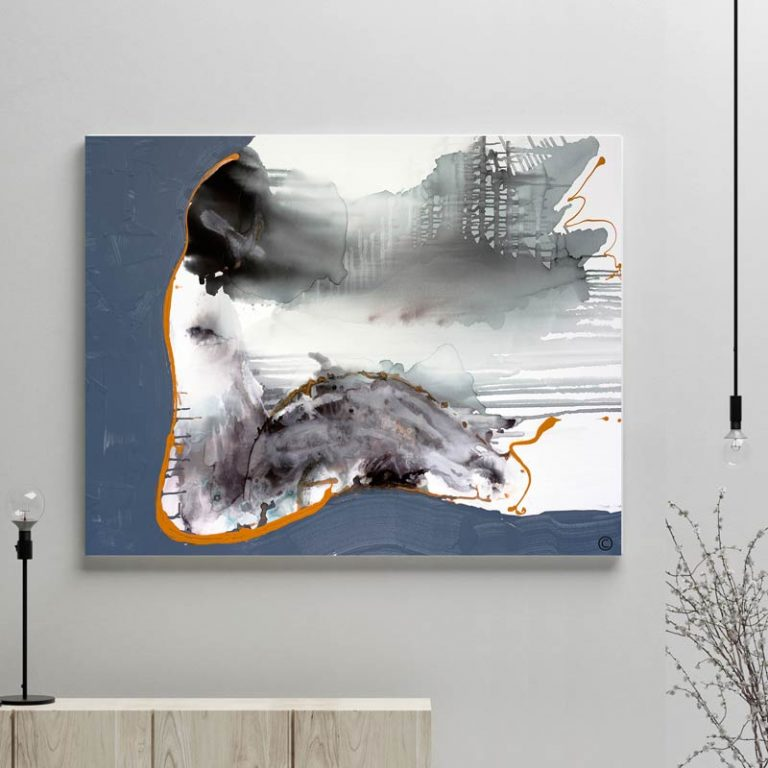 glass art print by sarah jane artist - modern abstract artwork of a woman sitting as life passes by in navy and white tones titled wind of change i