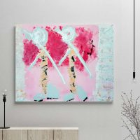 glass art print by sarah jane artist - modern abstract artwork in pink with people wandering through the outback of australia titled wanderers i