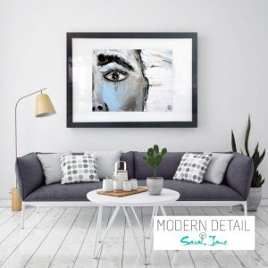 Glass Art Print of a face By Abstract Artist Sarah Jane from Modern Detail By Sarah Jane - Warrior XII