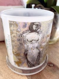 Glass Candleholder with Artwork By Sarah Jane - Anonymous XXId Front View