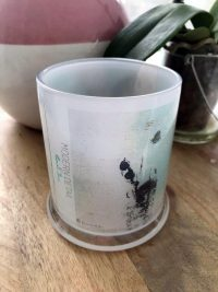 Glass Candleholder with Artwork By Sarah Jane - Boardwalk IIa Front View