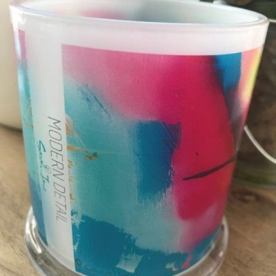 Glass Candleholder with Artwork By Sarah Jane - Colour me Happy V Front View