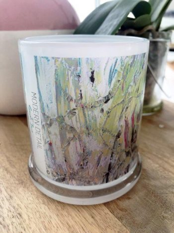 Glass Candleholder with Artwork By Sarah Jane - New Life IVb Front View