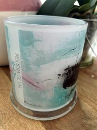 Glass Candleholder with Artwork By Sarah Jane - On the Move VIc Front View