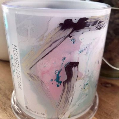 Glass Candleholder with Artwork By Sarah Jane - One of Us VIc Front View