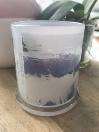 Glass Candleholder with Artwork By Sarah Jane - One of Us XIIId Front View