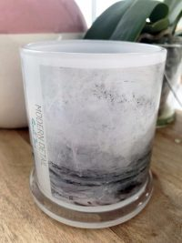 Glass Candleholder with Artwork By Sarah Jane - Storm III Front View