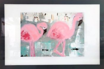 Glass Print with Abstract Art of Flamingos By Sarah Jane with White and Black Border - On the Move II
