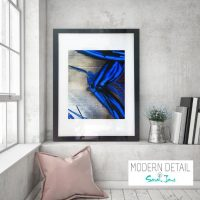 Glass Print with Blue Abstract Art from Modern Detail By Sarah Jane - Faceless III