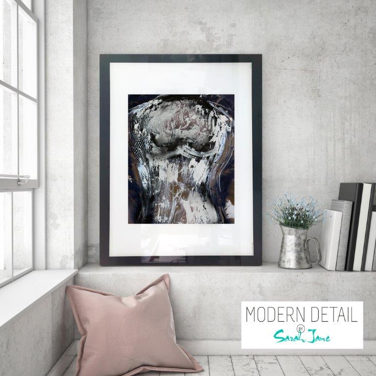 Glass Print with Modern Art in Neutral Colour Tones from Modern Detail By Sarah Jane - Anonymous IIa