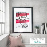 Glass Print with Modern Art of a 1920s gentleman from Modern Detail By Sarah Jane - Regal I