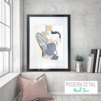 Glass Print with Modern Art of a body from Modern Detail By Sarah Jane - Bodyline I