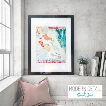 Glass Print with Modern Art of a colourful couple from Modern Detail By Sarah Jane - Reaching Out I