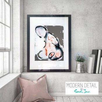 Glass Print with Modern Art of a man from Modern Detail By Sarah Jane - Double Entendre I