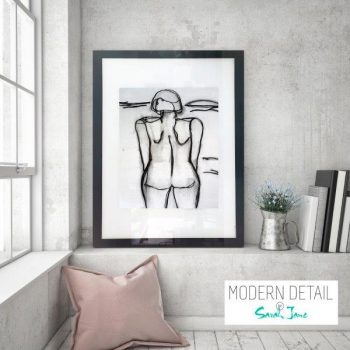 Glass Print with Modern Art of a woman in black and white from Modern Detail By Sarah Jane - Linear III