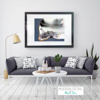 Glass Print with Modern Art woman sitting from Modern Detail By Sarah Jane - Wind of Change I