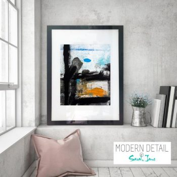 Glass Print with Modern Artwork in primary colours from Modern Detail By Sarah Jane - Boardwalk VIII