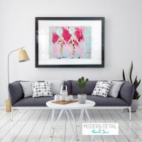 Glass Print with Modern Pink Art of people from Modern Detail By Sarah Jane - Wanderers I