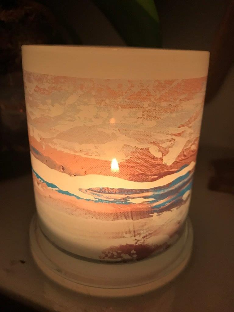 Illuminated Candle from Modern Detail By Sarah Jane - Tenderness VII Back View