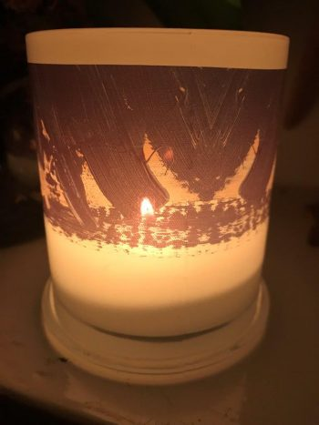 Illuminated Candle from Modern Detail By Sarah Jane - Warrior VII Back View
