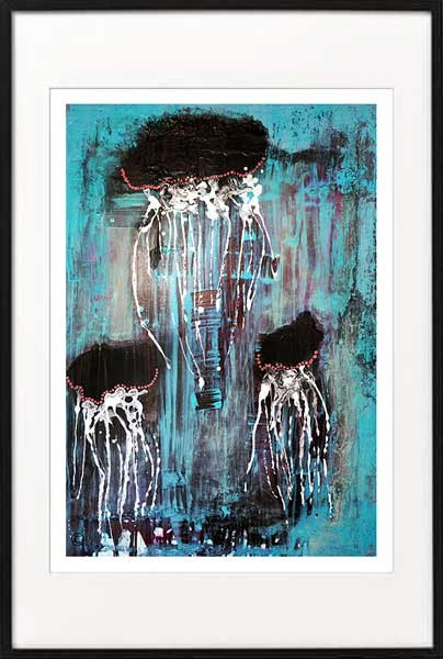jellyfish print modern abstract by sarah jane artist titled jellyfish i in a black frame