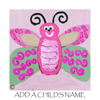 Kids Print of a Butterfly called Butterfly Ie with option to add a childs name - By Sarah Jane