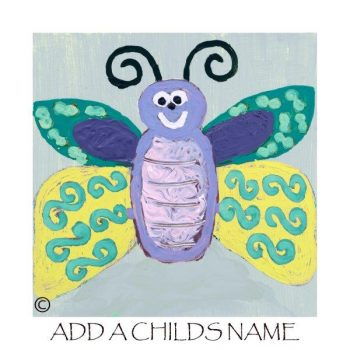 Kids Print of a butterfly called Butterfly Ig with option to add a childs name - By Sarah Jane