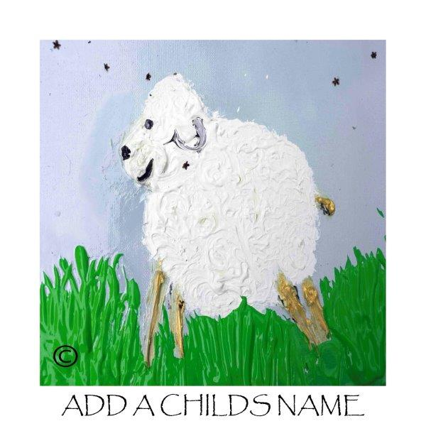 Kids Print of a lamb with blue background called Lambie Id - By Sarah Jane