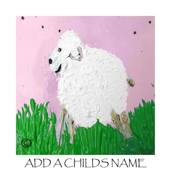 Kids Print of a lamb with pink background called Lambie Ib - By Sarah Jane