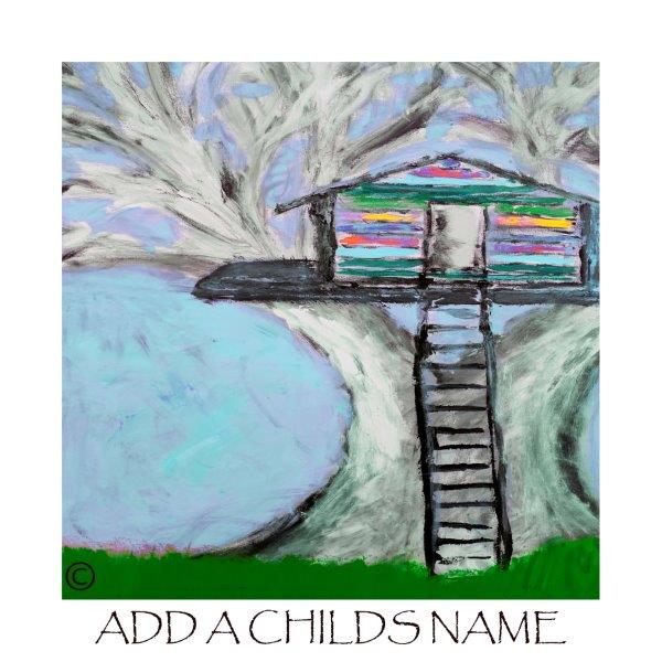 Kids Print of a treehouse called Magical Treehouse IIb with option to add a childs name - By Sarah Jane