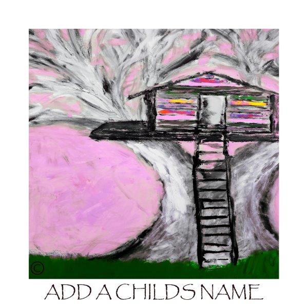 Kids Print of a treehouse called Magical Treehouse IIe with option to add a childs name - By Sarah Jane