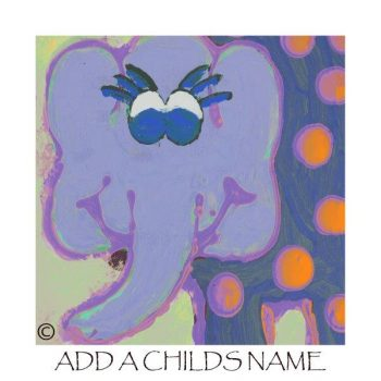 Kids Print of an elephant called Ellie Ic with option to add a childs name - By Sarah Jane