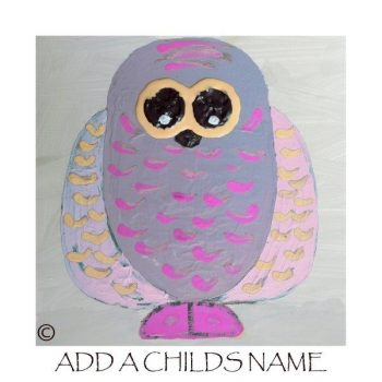 Kids Print of an owl called Owlie Ia with option to add a childs name - By Sarah Jane