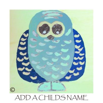 Kids Print of an owl called Owlie If with option to add a childs name - By Artist Sarah Jane