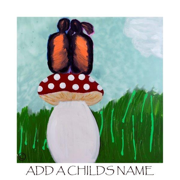 Kids Print of children sitting on a fungi called Magical Fields I with option to add a childs name - By Sarah Jane
