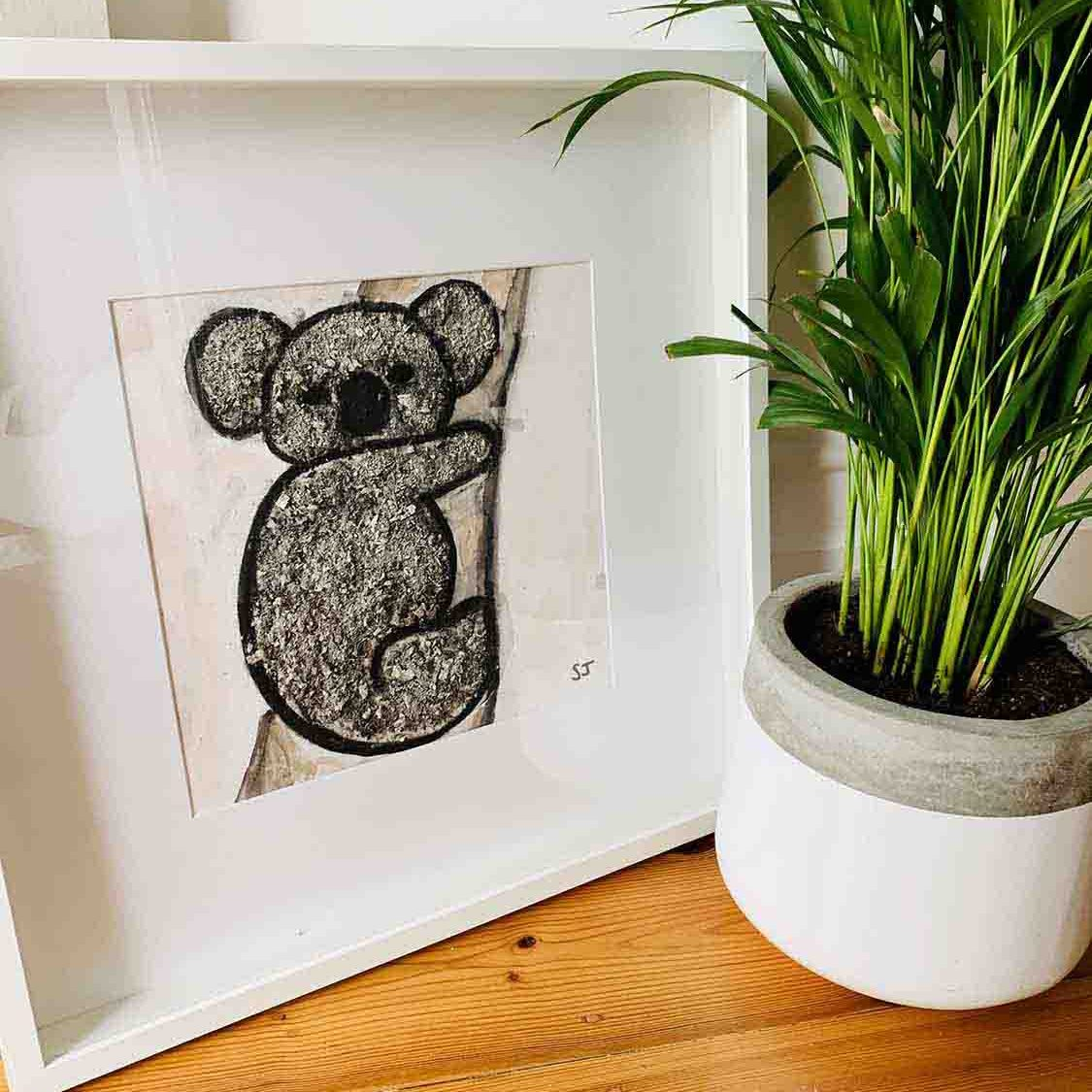 Koala I Framed Painting - Helping Adelaide Koala Rescue By Sarah Jane Artist
