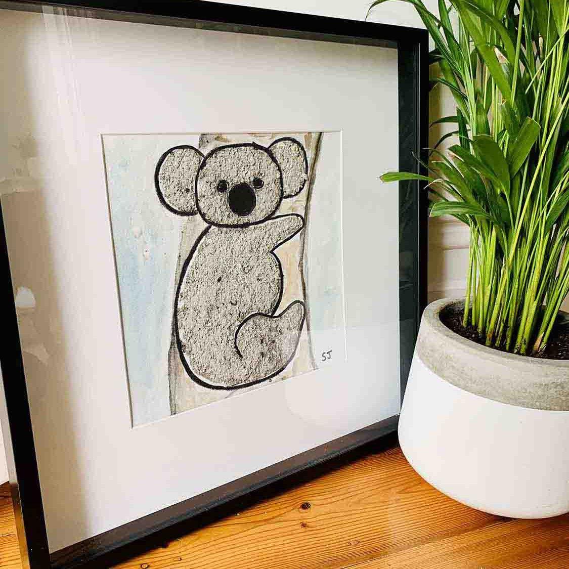 Koala II Framed Painting - Helping Adelaide Koala Rescue By Sarah Jane Artist