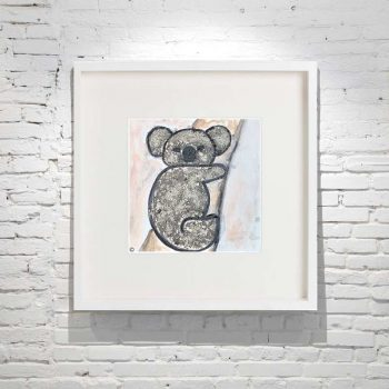 Koala Painting in White Frame of Australian Wildlife using Ash By Artist Sarah Jane Titled Koala I