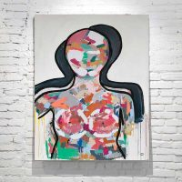 large colourful abstract figurative painting woman titled love generation by adelaide artist sarah jane