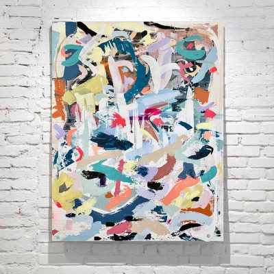 large happy abstract painting colourful when tomorrow comes by australian artist sarah jane