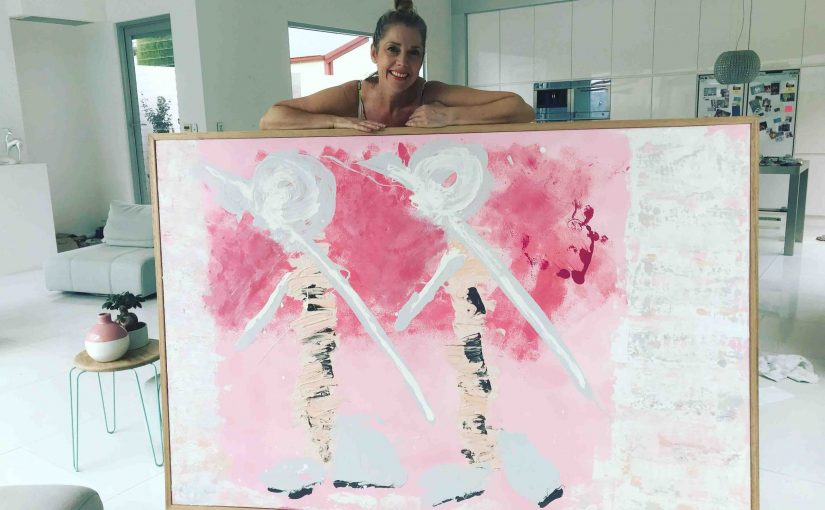 Large Pink Painting By Artist Sarah Jane called Wanderers