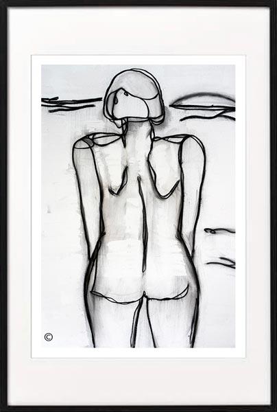 line art print woman beach by sarah jane artist titled linear iii in a black frame