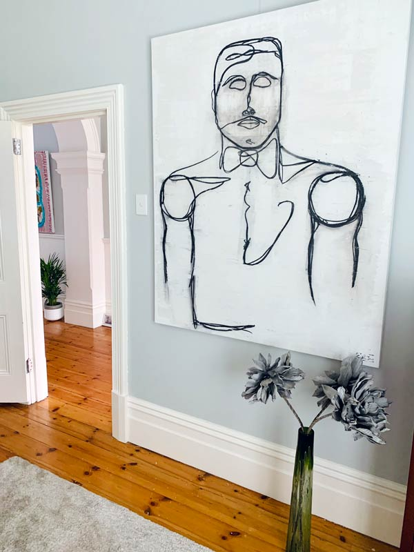 Line Art of a suave man By Sarah Jane Artist Titled Linear I