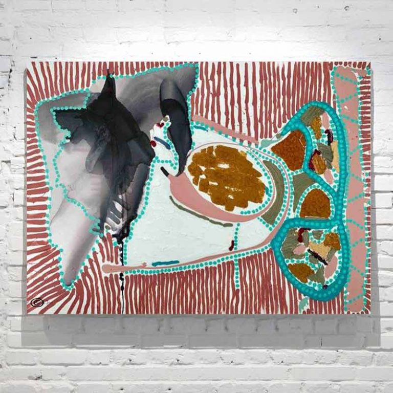 Colourful Line and Dot Painting of a ocean animal TItled Australiana I By Sarah Jane Artist