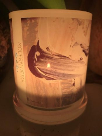 Lit Candle from Modern Detail By Sarah Jane - Feathers Lb Front View