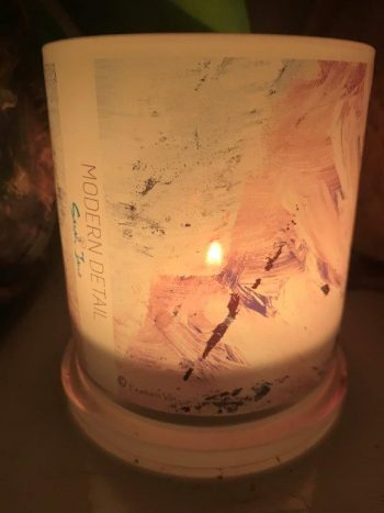 Lit Candle from Modern Detail By Sarah Jane - Feathers VIa Front View