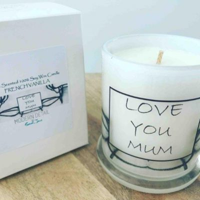 Love You Mum Soy Candle with black and white artwork - Linear LI