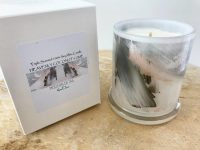 Luxury Candles Australia by Sarah Jane Artist - black and white artwork Peach III with Natural Soy Wax