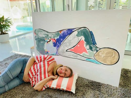 Man-Sleeping-Modern-Painting---Bodyline-Bold-V-Art-Collection-Series---Artist-Sarah-Jane